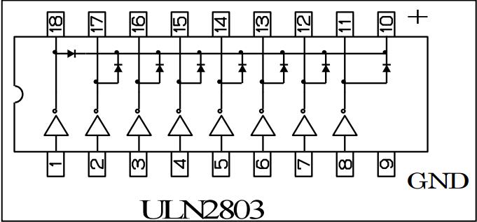 ULN2803 Entegresinin bacak yapısı
